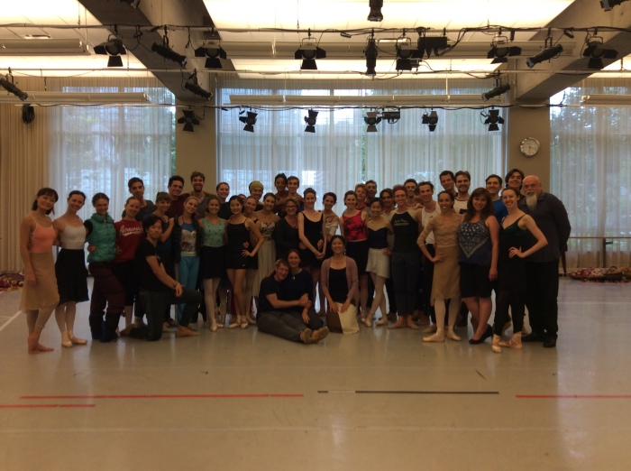 Nagisa Inoue with the dancers and staff of the National Ballet of Canada after a rehearsal of 'The winter's Tale'